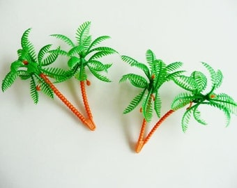 24 3D Palm Tree Cupcake Picks Toppers Hawaiian Luau Decorations Party Supplies