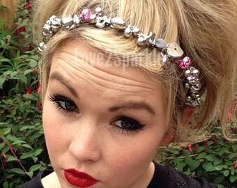 Handcrafted Headband, Upcycled Headband, Jewel Hairband, Bead Headband, Pink and Silver Headband, Beaded Tiara Headband, Boho Headband