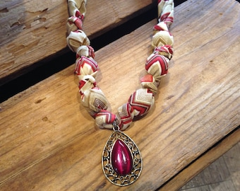 Red and Gold Fabric Necklace