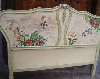 French Headboard Painted Cottage Marie Antoinette Romantic