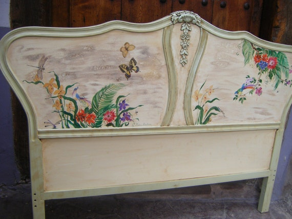 Cabecero de cama 135 cm pintado a mano - Cabecero cama pintado ...