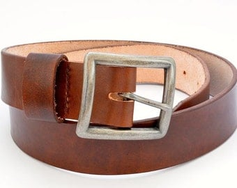 Natural Veg Tan Cowhide Leather Belt, 1.5 inch width