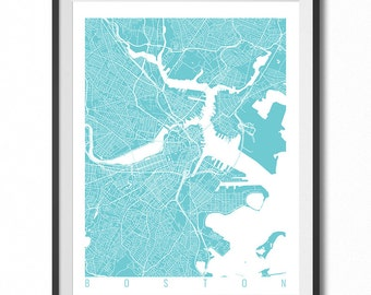 BOSTON Map Art Print / Massachusetts Poster / Boston Wall Art Decor / Choose Size and Color