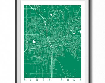 SANTA ROSA Map Art Print / California Poster / Santa Rosa Wall Art Decor / Choose Size and Color