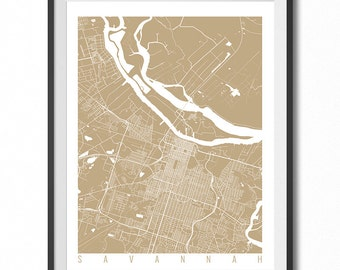 SAVANNAH Map Art Print / Georgia Poster / Savannah Wall Art Decor / Choose Size and Color