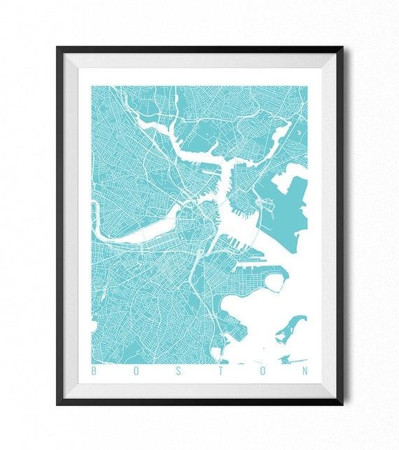 Boston Map Art Print Massachusetts Poster Boston Wall Art