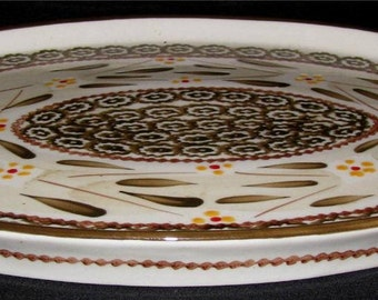 "Temp-tations OLD WORLD BROWN Ovenware Oval Serving Platter Dinnerware 14 1/4"" x 9 3/4"""