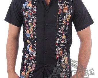Rockabilly Buttons Front Maxican Tattoo Western Cowboy  Shirt Psychobilly Rock N Roll