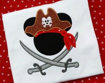 Mickey Mouse Pirate swords appliqué t shirt. Disney pirate shirt boys, infant, toddler white short sleeve