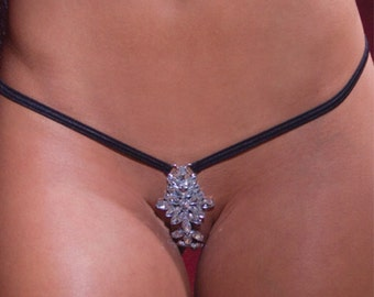 Sexy Crotchless Panties G-string Thong Lingerie with High Quality Rhinestone accessory.White, Red, Black. Size- S,M,L,XL Mature