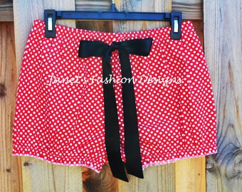 Black, Red or Pink Minnie Mouse Shorts - Disney's Minnie Mouse Women Style - White Polka Dots Minnie Mouse Bloomers Fashion