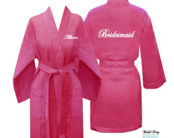 Set of 9 Personalized Waffle Weave Bridesmaid Robe with Name on Front and Title on Back, Bridesmaid Robe, Bridal Robe