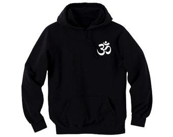 Ohm man/women black pullover hoodie-yoga symbols wear