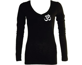 Ohm Aum om  yoga symbols black long sleeves women t-shirt