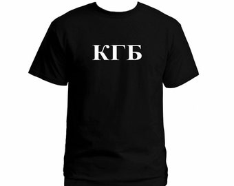KGB  Cyrillic writing black t-shirt the Russian Soviet USSR CCCP apparel