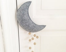 Baby mobile baby nursery, felt mobile, moon mobile, moon and stars, baby accessories, baby crib, baby room, baby bedding, moon mobile