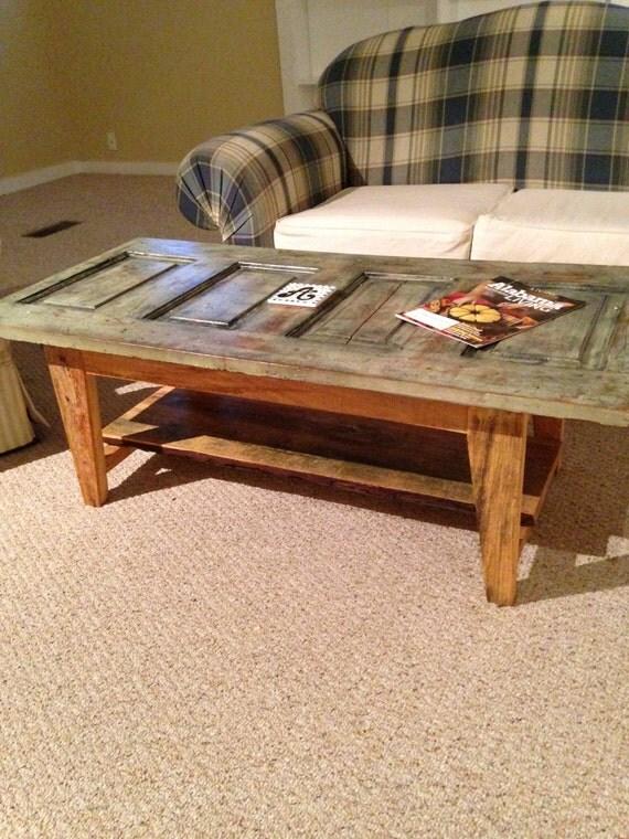 Vintage modern rustic door coffee table by woodworksbyjared for Rustic door coffee table