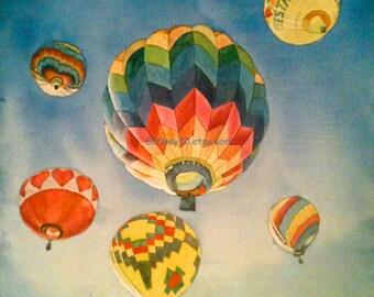 Hot Air Balloon Watercolor Print. Balloon painting. Balloon wall art. Balloon picture. Watercolor art. Watercolor balloon. Balloon artwork.