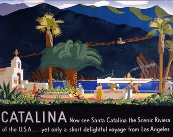 Santa Catalina  Los Angeles  Vintage Travel Poster - Poster Print, Sticker or Canvas Print