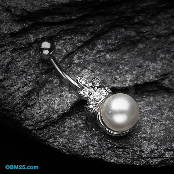 princess pearl belly button ring