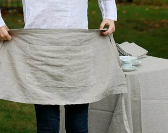 Linen Cafe-Apron/ Short Apron (Natural Flax)