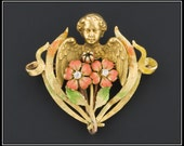 Antique Art Nouveau Cherub Pin or Pendant, Krementz & Co. 14k Gold Diamond Enamel Brooch