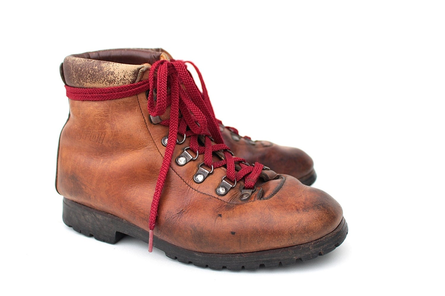 vintage leather hiking boots 70s 80s austrian by
