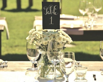 Wedding Table Numbers. Hand Lettering. Calligraphy Table Numbers. Black Table Numbers