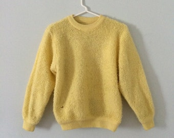 Crewneck Loop Yarn Canary Yellow Women's Sweater