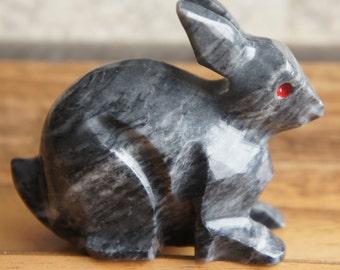 Toy Souvenir Marble Rabbit Bunny Gray  E-137