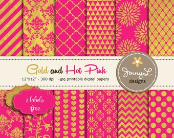 Gold and Hot Pink Digital Papers, Fuchsia and Gold Digital Papers, Hot Pink Indian Wedding, Damask Digital Paper, Dahlia Digital Paper