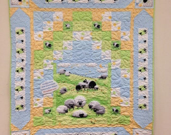 """Counting Sheep Baby Quilt Kit Fabrics by Susy Bee, Pattern by Pine Tree Country Quilts Finished Size 44"""" x 50"""""""