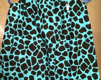 teal and black giraffe print pillow case dress
