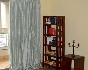 Mint Green Silk Drapes with blackout lining in pure Dupioni Silk Fabric