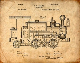 Patent Print of a Locomotive Engine Patent Art Print - Patent Poster - Train - Train Engine - Train Art - Train Poster