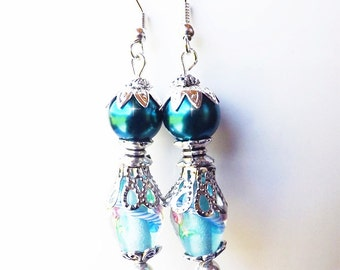 Teal Lampwork & Faux Pearl Earrings