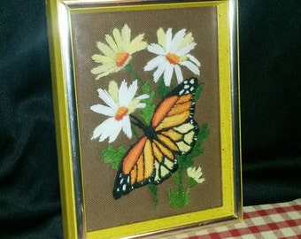 Vintage Butterfly Daisy Flower Needlepoint Framed Monarch Wall art decor 70's yellow orange brown stitchery