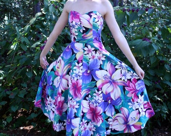 Vintage 80s Floral Sweetheart Dress Small