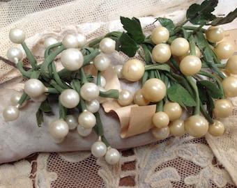 "VINTAGE celluloid PEARL Cluster  1/4"" or 3/8"" Made in Germany USSR Occupied 1930's 1 cluster either White or Ivory"