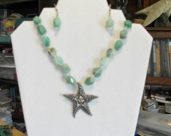 Chrysoprase Starfish necklace and earrings