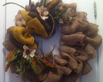 Fall Natural Burlap Wreath 24 inch