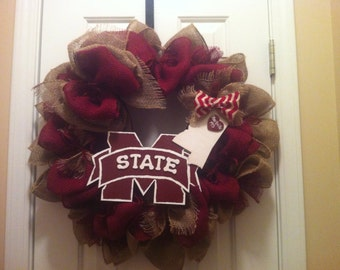 Mississippi State Football Mania Burlap Wreath