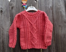 Hand Knitted  Girl Sweater, 100% All Wool Sweater, Hand Knit Pink Pullover, Knitted Pullover for Girl 2T-3T, Pink Sweater, Ready to Ship