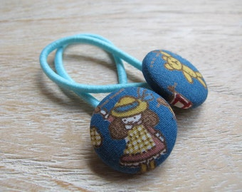 Fabric Covered Button Hair Elastic – Girl and Bear (Set of 2)