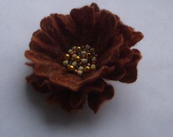 Felt brooch-Flower brooch-Felted flower brooch-felt flower chocolate -summer autumn-winter brown