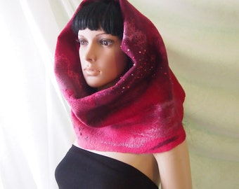 Felted wool scarf-Nuno felted scarf-Felted scarf-Felted snood-Chunky infinity scarf-red