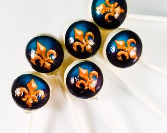 6 Fleur De Lis Royalty Hard Candy Lollipops