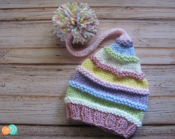 Long Tail Pom Pom Hat with Ridges -  Knitting Pattern - Newborn