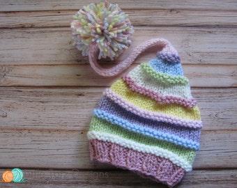Long Tail Pom Pom Hat with Ridges -  Knitting Pattern - Newborn