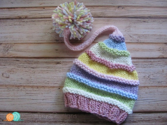 Long Tail Pom Pom Hat with Ridges Knitting Pattern